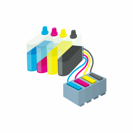 inkjet: Cartridges for colour inkjet printer icon in cartoon style on a white background
