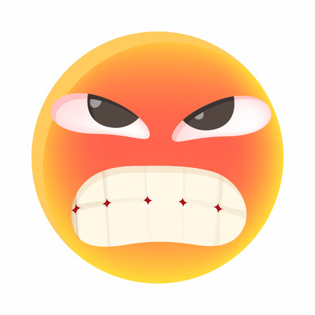 unhappy man: Angry emoticon icon in cartoon style on a white background