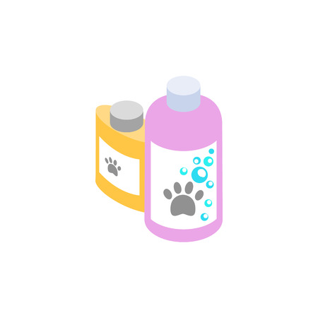 veterinary medicine: Shampoo and conditioner for animals icon in isometric 3d style isolated on white background. Veterinary medicine and equipment symbol