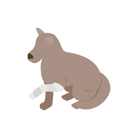 pity: Dog with broken paw icon in isometric 3d style isolated on white background. Veterinary care symbol