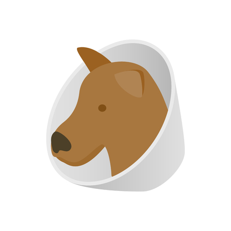 harm: Dog in neck brace icon in isometric 3d style isolated on white background. Veterinary care symbol