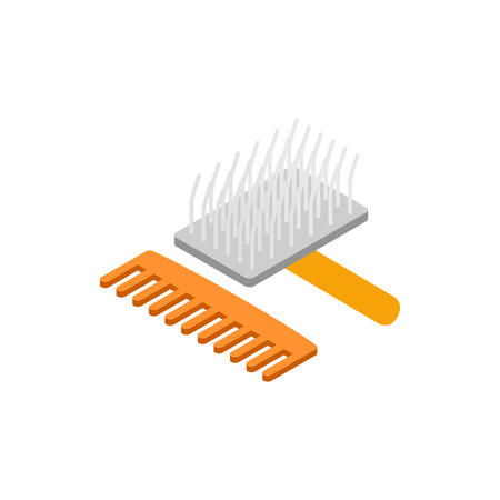 personal grooming: Brush and comb for animals icon in isometric 3d style isolated on white background. Pet care symbol