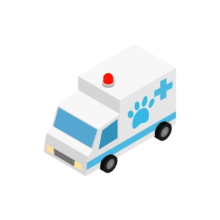 Veterinary ambulance icon in isometric 3d style isolated on white background. Treatment of animals symbol