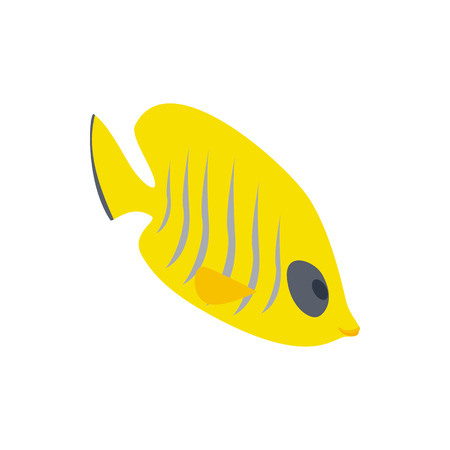 tang: Fish yellow tang icon in isometric 3d style isolated on white background. Sea and ocean symbol Illustration