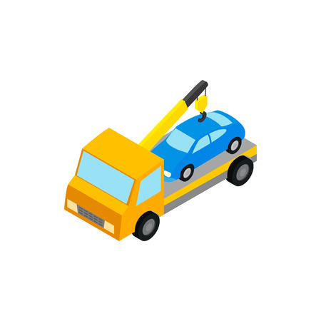 penalty: Tow truck hauls car to penalty parking icon in isometric 3d style isolated on white background. Transport and service symbol
