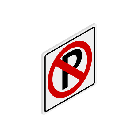 parking is prohibited: Parking is prohibited icon in isometric 3d style isolated on white background. Transport and service symbol