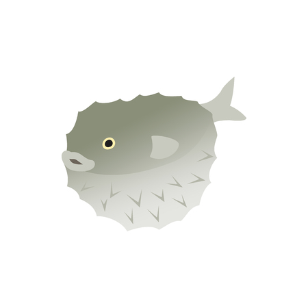 puffer: Puffer fish icon in isometric 3d style isolated on white background. Sea and ocean symbol Illustration