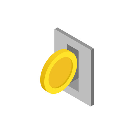 operated: Parking fees icon in isometric 3d style isolated on white background. Transport and service symbol