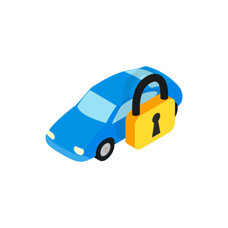 under arrest: Car under arrest icon in isometric 3d style isolated on white background. Transport and service symbol