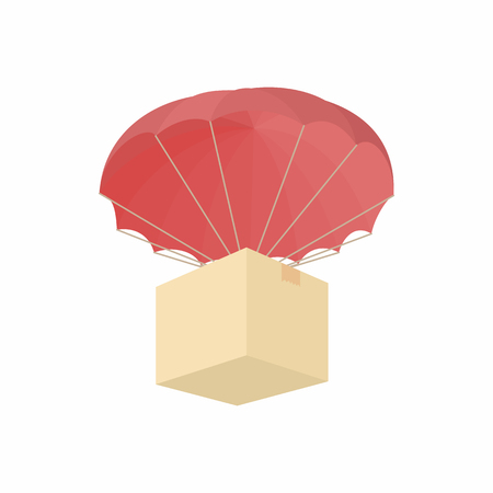 disaster relief: Humanitarian aid in a box with a parachute icon in cartoon style on a white background
