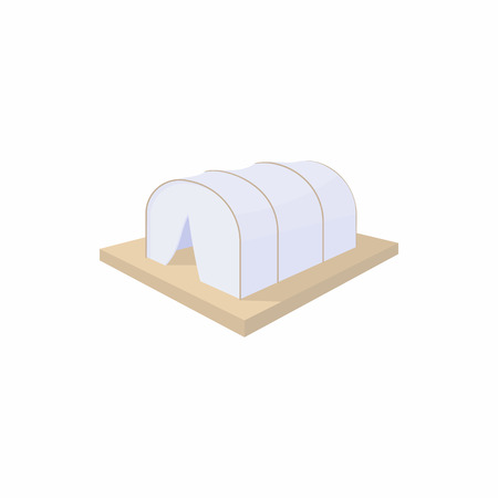 Makeshift camp icon in cartoon style on a white background