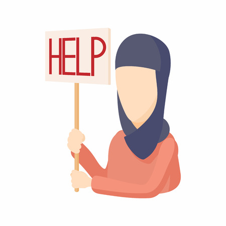 syrian war: Woman in hijab with help sign icon in cartoon style on a white background