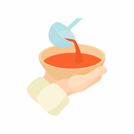 begging: Bowl is outstretched waiting for food icon in cartoon style on a white background Illustration