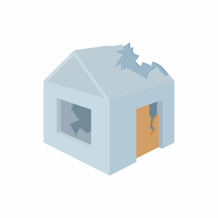 collapsing: Destroyed house icon in cartoon style on a white background