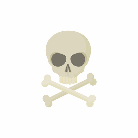 decrepit: Skull with two crossed bones icon in cartoon style on a white background Illustration