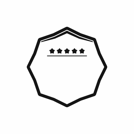 five stars: White octagon with five stars icon in simple style on a white background Illustration