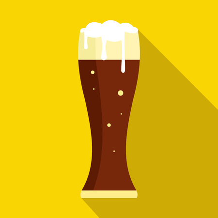 dark beer: Glass of dark beer icon in flat style on a yellow background Illustration