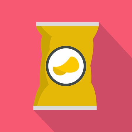 crisp: Potato chips bag icon in flat style on a pink background