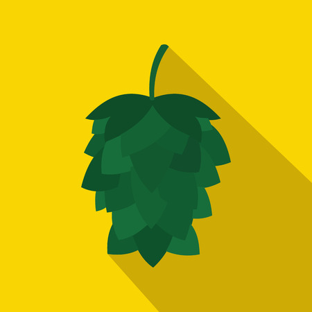 hop cone: Green hop cone icon in flat style on a yellow background