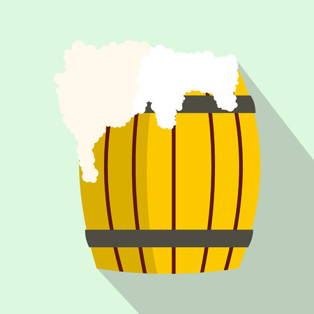 froth: Wooden barrel of beer with froth icon in flat style on a light blue background Illustration
