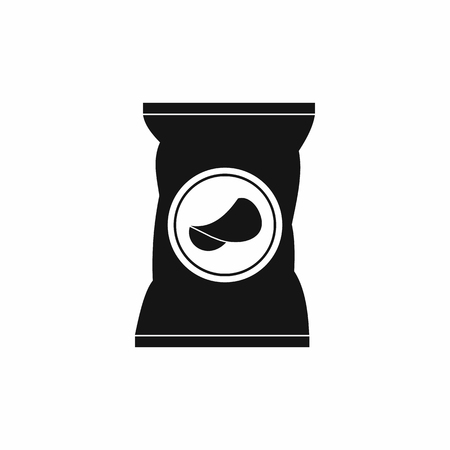 salty: Potato chips bag icon in simple style on a white background