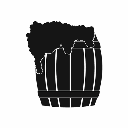 froth: Wooden barrel of beer with froth icon in simple style on a white background Illustration