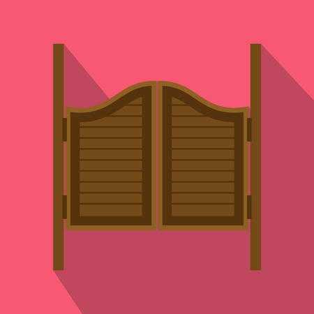 old wooden door: Doors in western saloon icon in flat style on a pink background