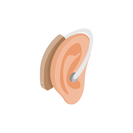 hearing aid: Hearing aid on an ear icon in isometric 3d style on a white background