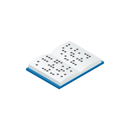 sense of sight: Book written in Braille icon in isometric 3d style on a white background
