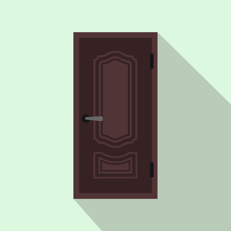 empty keyhole: Brown steel door icon in flat style on a light blue background Illustration
