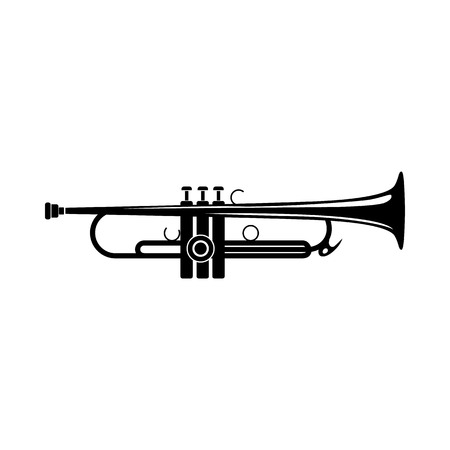 trumpet isolated: Trumpet icon in black simple style isolated on white background
