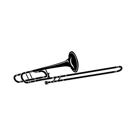 trombone: Trombone musical instrument icon in black simple style isolated on white background