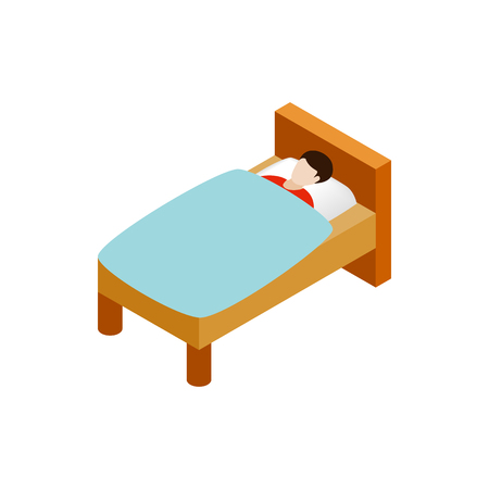 one bedroom: Man laying in bed icon in isometric 3d style on a white background Illustration
