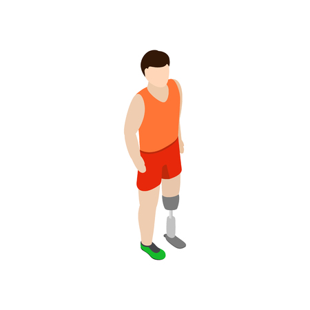 amputation: Man with a below knee amputation with prosthetic leg icon in isometric 3d style on a white background