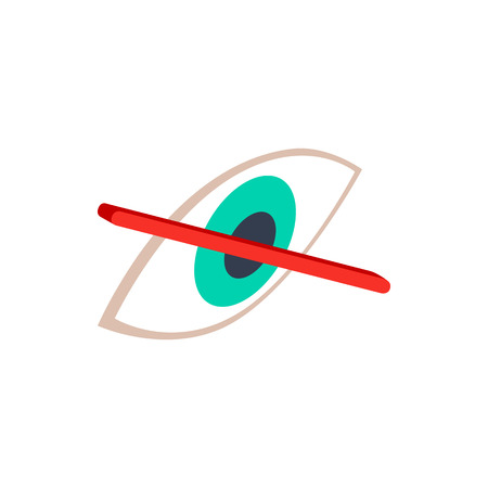 eye 3d: No eye sight icon in isometric 3d style on a white background