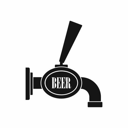 Czarna ikona piwo z kranu w prostym stylu na białym tle