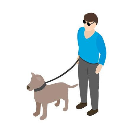 unsighted: Blind man with guide dog icon in isometric 3d style on a white background