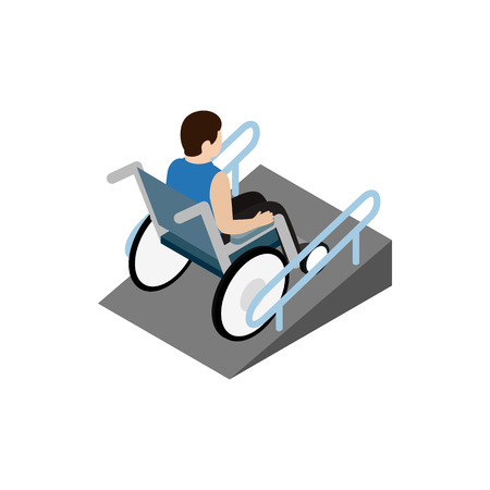 ramp: Man sitting on wheelchair on the ramp icon in isometric 3d style on a white background Illustration