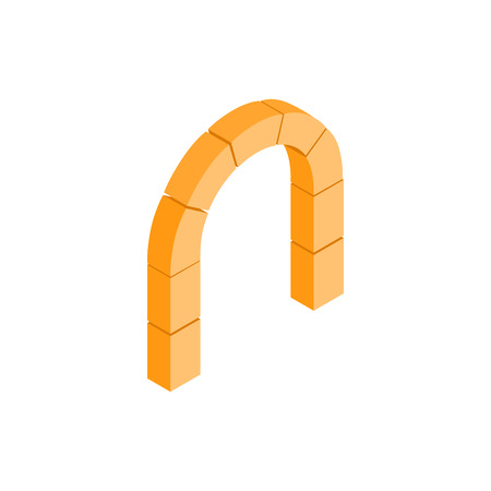 shouldered: Semicircular stone arch icon in isometric 3d style on a white background