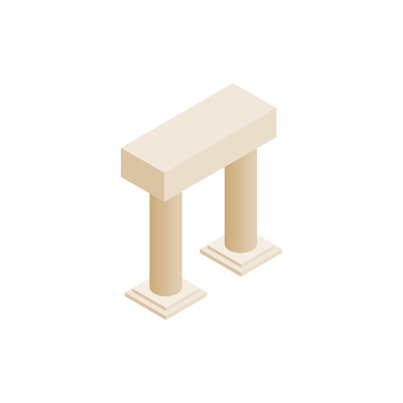 archway: Antique portal with columns icon in isometric 3d style on a white background