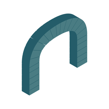 shouldered: Grey semicircular stone arch icon in isometric 3d style on a white background