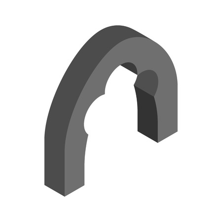 shouldered: Black trefoil arch icon in isometric 3d style on a white background