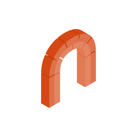 shouldered: Semicircular arch made of red bricks icon in isometric 3d style on a white background