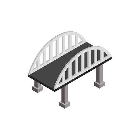 Bridge with arched railings icon in isometric 3d style on a white background Vettoriali