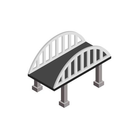 Puente con barandillas icono de arco en estilo isométrico 3d sobre un fondo blanco Ilustración de vector