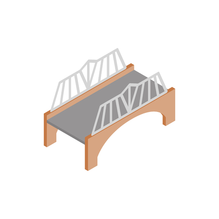 balustrade: Bridge with wrought iron railings icon in isometric 3d style on a white background
