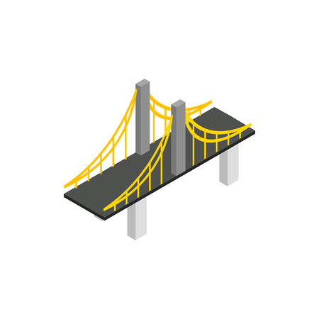 suspension bridge: Suspension bridge icon in isometric 3d style on a white background