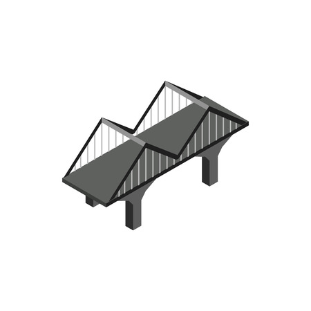 viaduct: Black bridge icon in isometric 3d style on a white background