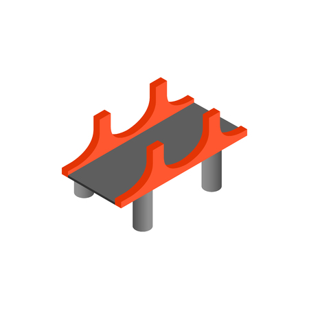 pillars: Bridge with red pillars icon in isometric 3d style on a white background