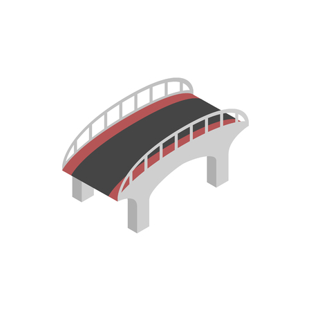 railings: Bridge with steel railings icon in isometric 3d style on a white background